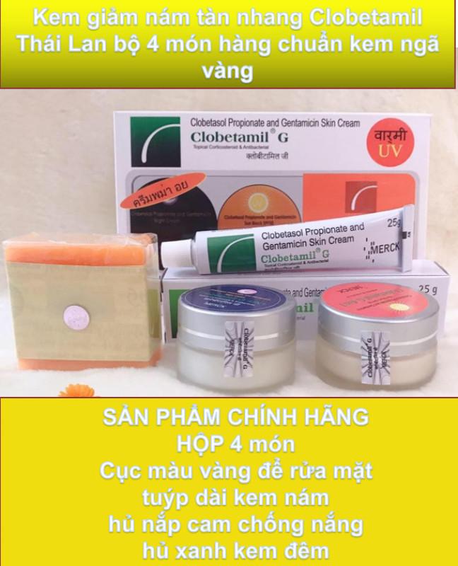HÀNG CHUẨN Kem giảm nám tàn nhang Clobetamil Thái Lan bộ 4 món hàng chuẩn kem ngả vàng hình mặt trời trên hộp kem to rõ-shop trường auth giá rẻ