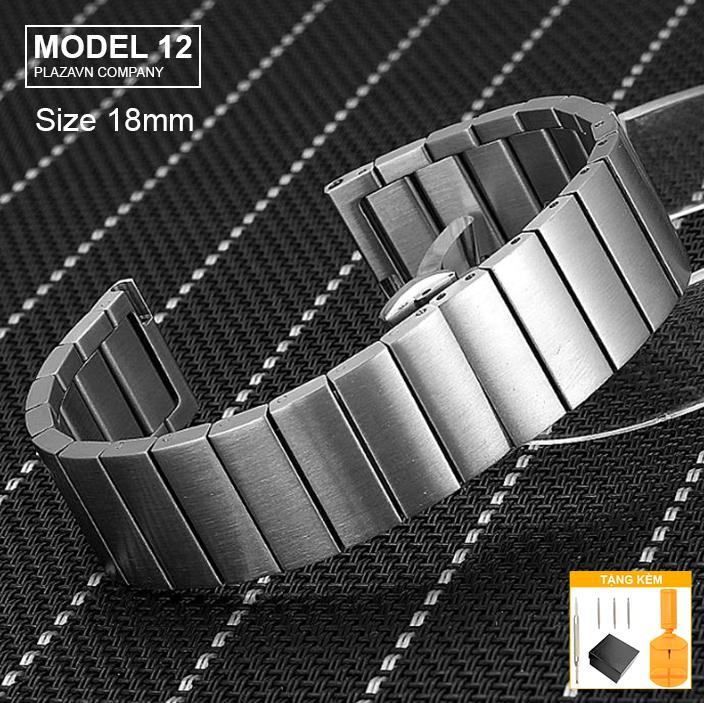 Nơi bán (size 18mm) Dây đồng hồ thép mặt bóng không gỉ inox model 12 kiểu khóa bấm chống han gỉ chống bay màu