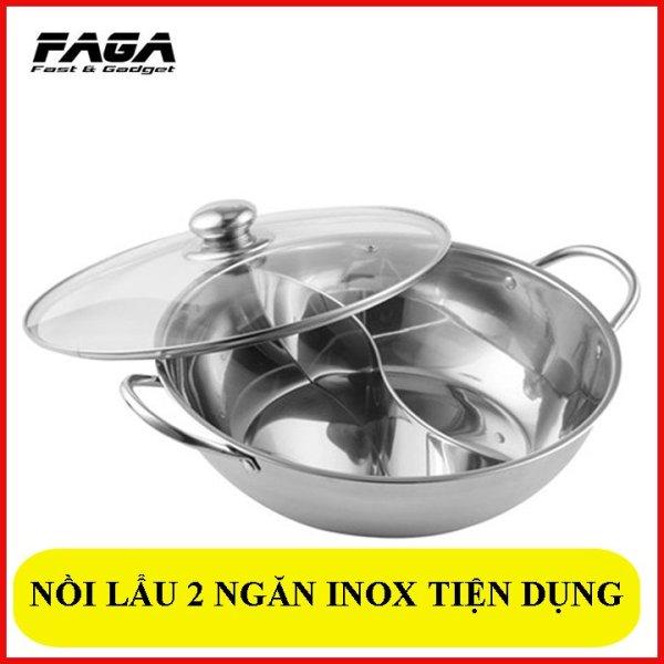 Nồi lẩu Inox 2 ngăn dùng cho bếp từ, bếp hồng ngoại, bếp ga