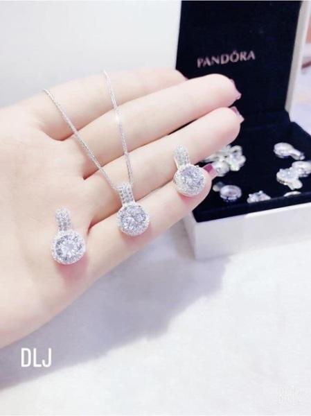 Dây chuyền mẫu mới thời trang bạc ta mặt đá tròn sang chảnh- JQN gian hàng chính hãng cam kết Bạc chuẩn, Chất lượng không lo đen xỉn
