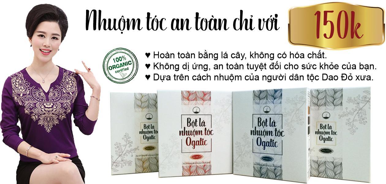 Bột lá nhuộm tóc Ogatic - màu Xanh đen (màu Chàm) - 100% từ thảo dược thiên nhiên, không hóa chất