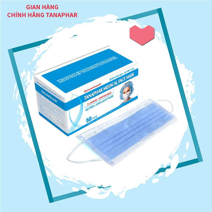 Khẩu trang y tế TANAPHAR - Hộp 50 chiếc - Khẩu trang 3 lớp lọc bụi , kháng khuẩn , chống nắng , chống độc , chống tia UV