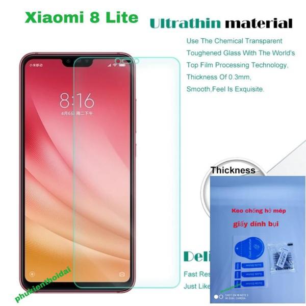Cường lực Xiaomi Mi 8 Lite loại tốt trong suốt 9H /2.5D gần full màn ( tặng keo mép giấy lấy bụi )