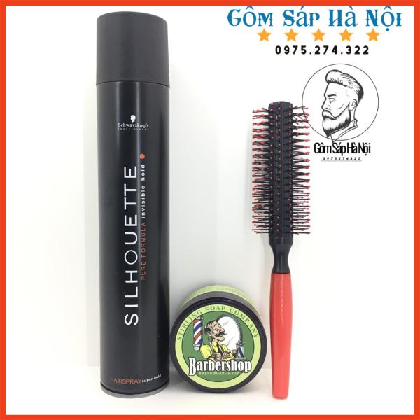 [ Tặng Lược ] Combo  Gôm Xịt Tóc Silhouette 400ML + Sáp Vuốt Tóc BarberShop Shave Soap giá rẻ