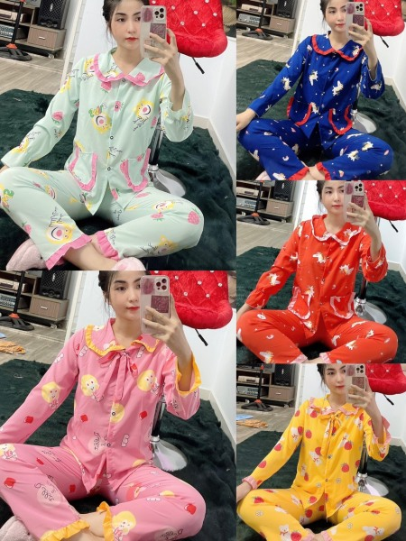 [LỤA HÀN TD]Đồ Bộ Pijama TAY DÀI PHỐI REN Siêu Xinh Từ 43kg-56kg ĐƯỢC CHỌN MẪU VảiI LỤA HÀN mịn đẹp, giặt không xù, không phai màu, thoáng mát dễ chịu