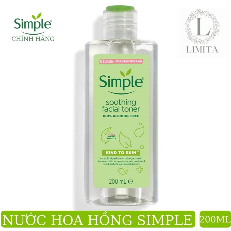 Nước hoa hồng toner Simple (CHÍNH HÃNG) Kind To Skin Soothing Facial Không chứa cồn diệu nhẹ cho làn da (200ml)- đồng hành cùng Lazada Limita store
