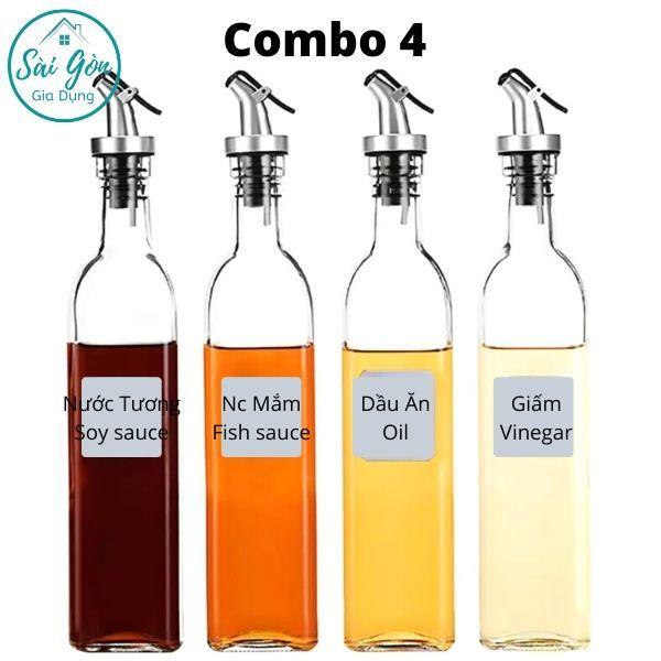 (Combo 4)Chai đựng dầu ăn - Bình rót dấm, nước tương, nước mắm, mật ong Dung Tích 500ml SG-C036