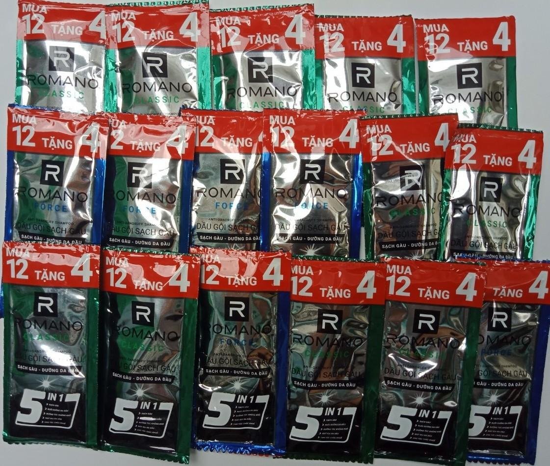 100 gói Dầu Gội Đầu Romano  hệ 5 trong 1 trọng lượng 5g / gói ( Gói lẻ hàng Khuyến Mãi) nhập khẩu