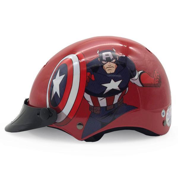 Giá bán Mũ Bảo Hiểm Trẻ Em Nửa Đầu Không Kính Protec Họa Tiết Captain American Màu Đỏ Nổi Bật, Mạnh Mẽ, An Toàn, Thoáng Nhẹ - PROTEC HELMET