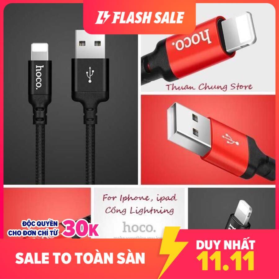 [HCM]Cáp sạc dây dù Hoco X14 dài 1M 2M - cổng Lightning - sạc Iphone Ipad✓Chất Lượng Cao ✓Bảo Hành 6 Tháng - Phụ kiện điện thoại