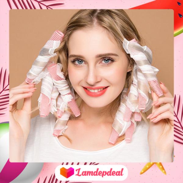 ♥ Lamdepdeal -  Bộ 10 lô uốn tóc xoăn lọn tự nhiên dạng ống lưới tự dính - Tạo mái tóc thời thượng và nữ tính, đơn giản dễ sử dụng - Lô uốn tóc không nhiệt không gây hại cho tóc và da đầu. tốt nhất