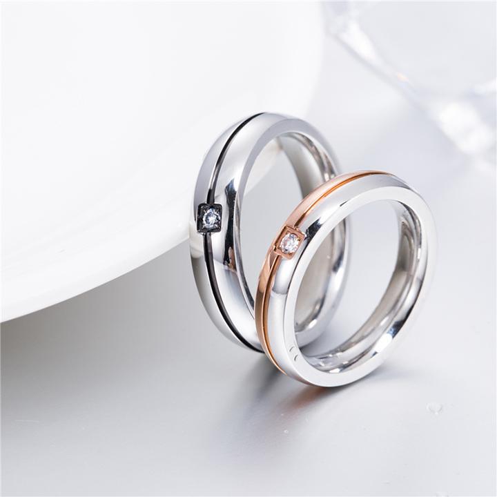 Nhẫn cặp tình nhân N235 Size 5 (Màu đen, đồng)