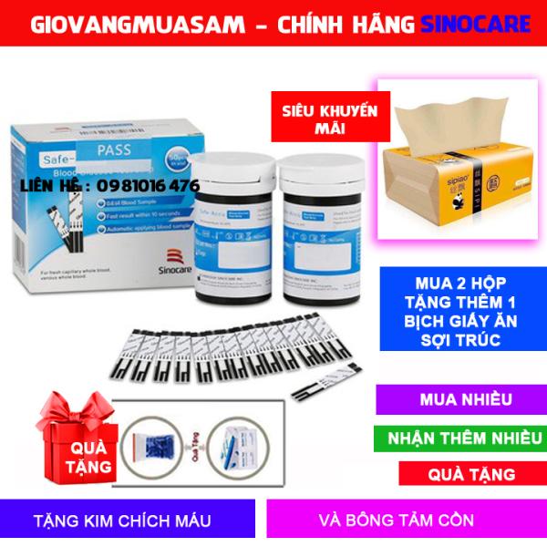 Hộp 50 que thử đường huyết Sinocare Mua từ 2 hộp trở lên tặng thêm bịch giấy ăn sợi tre