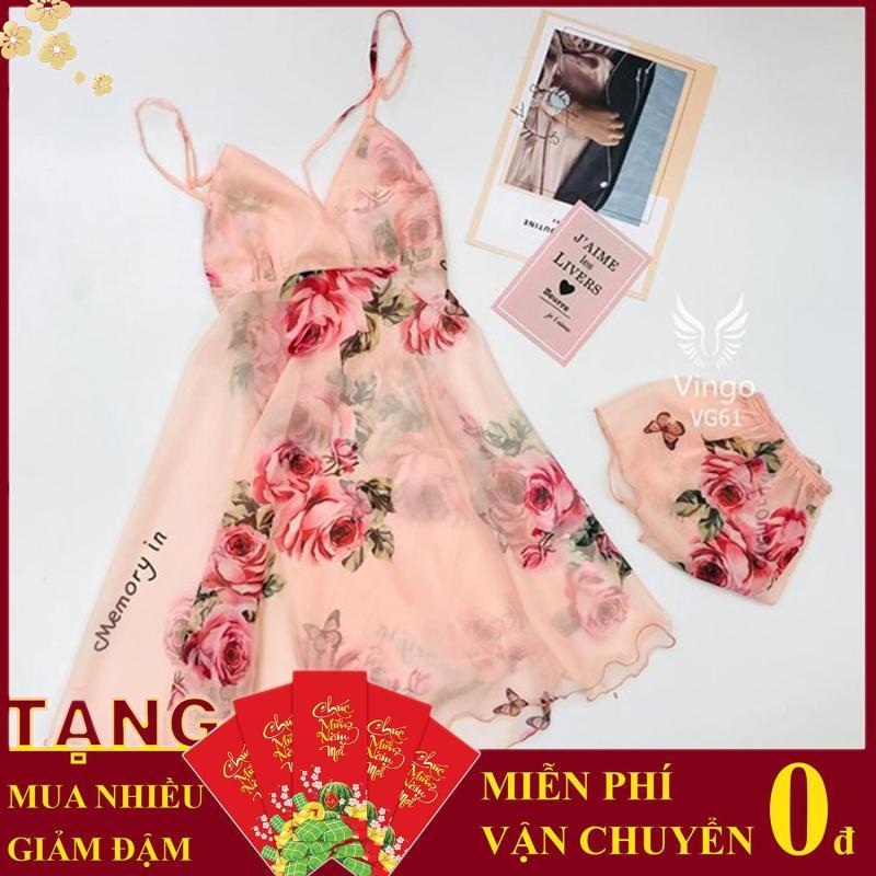 Nơi bán Quần áo nữ Áo & đầm hai dây Váy ngủ lụa voan hai dây Vingo cổ khoét chữ V họa tiết hoa lá kèm quần trong nhiều màu VG61 đặc biệt tặng kèm dây cột tóc