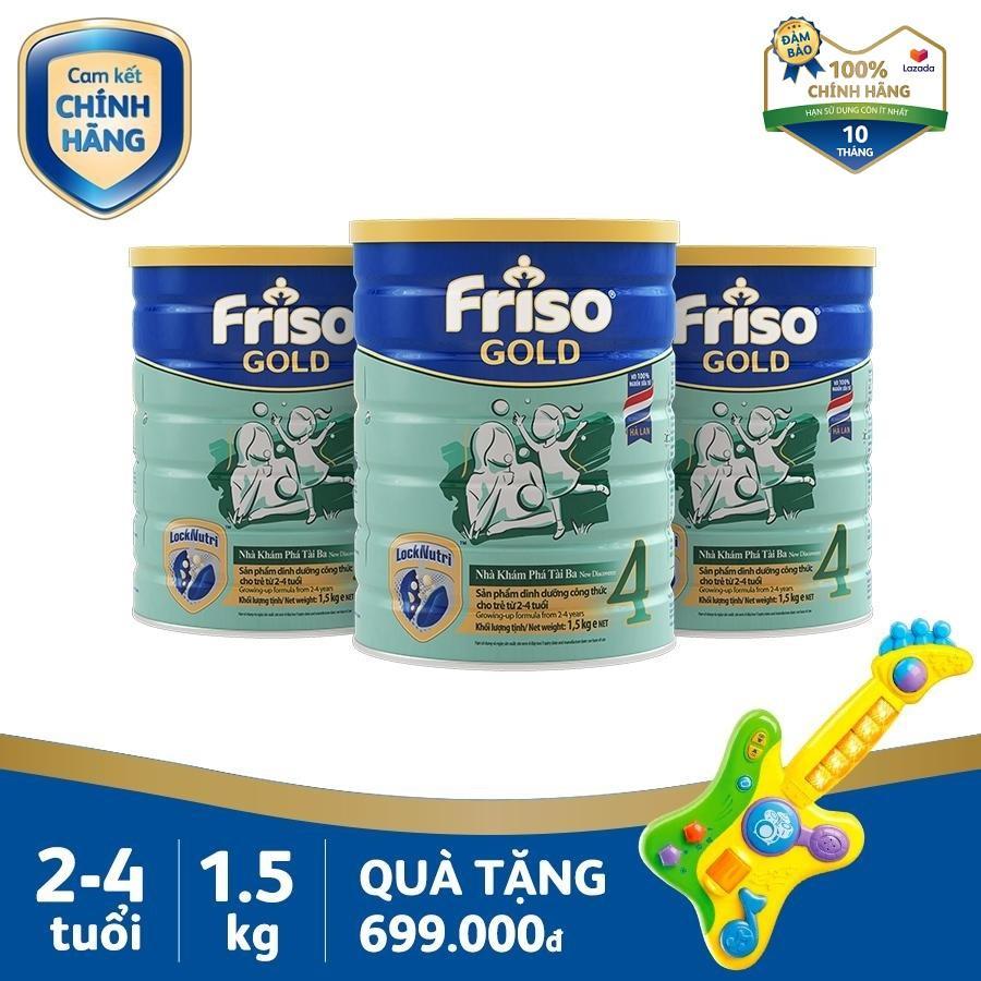 Bộ 3 Lon Sữa Bột Friso Gold 4 1.5kg Cho Trẻ Từ 2-4 Tuổi + Tặng 1 Đàn Guitar V-tech Trị Giá 699k - Cam Kết HSD ít Nhất 10 Tháng Siêu Khuyến Mãi