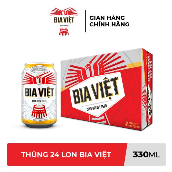 [TRỢ SHIP 38K + VOUCHER 10K] Thùng 24 lon Bia Việt 330ml/lon