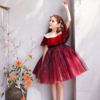 MQATZ Cô Gái Trẻ Em Váy Cho Bé Gái Quần Áo Váy Dạ Hội Ren Đỏ Đảng Đầm Công Chúa Thanh Lịch 3-10 Năm 3-10 Năm L5153
