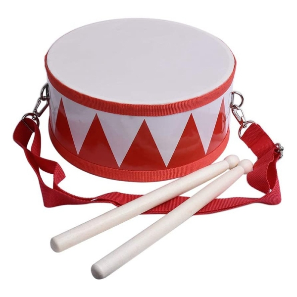 Kids Drum Wood Toy Drum Set with Carry Strap Stick for Kids Toddlers Gift for Developing Childrens Rhythm Sense