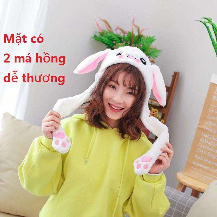 Nón tai thỏ giật cử động 2 tai mũ tai thỏ giật màu trắng dễ thương (có sẵn)