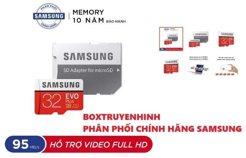 [Nhập ELJAN11 giảm 10%, tối đa 200k, đơn từ 99k]Thẻ nhớ microSDHC Samsung Evo Plus 32GB upto 95MB/s U1 C10 kèm Adapter 5.0 Hàng chính hãng Samsung BH 10 Năm