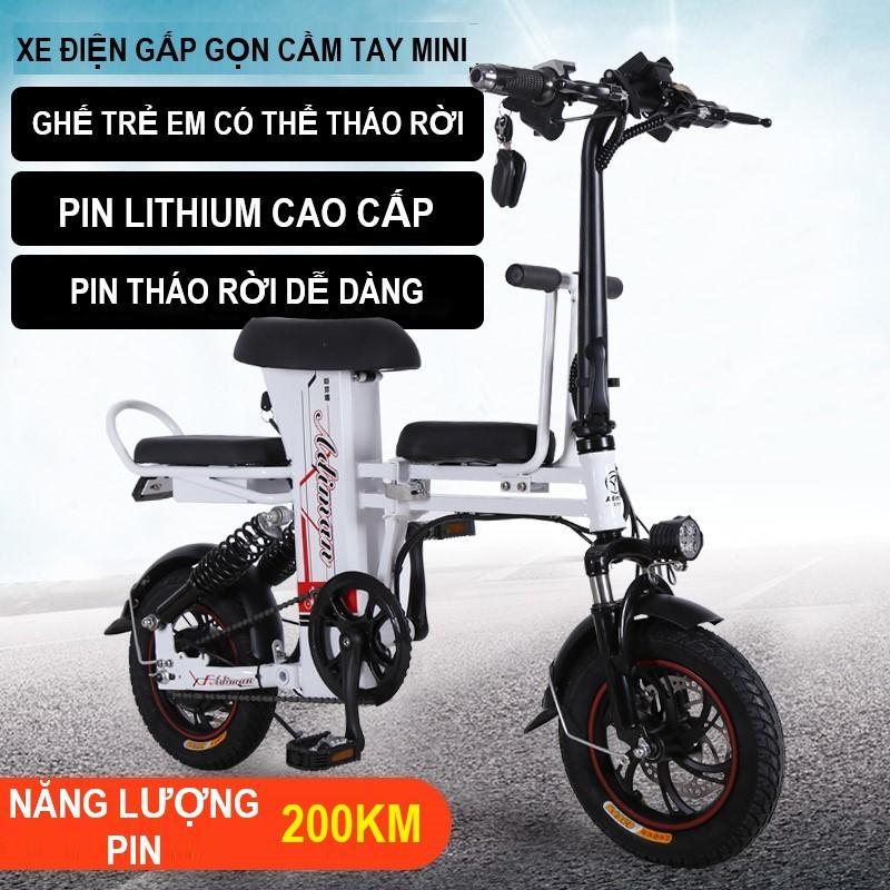 Phân phối Xe Điện Gấp Gọn ADIMAN   Xe Đạp Điện Mini 3 Ghế Ngồi   Pin Lithium 48v-20A