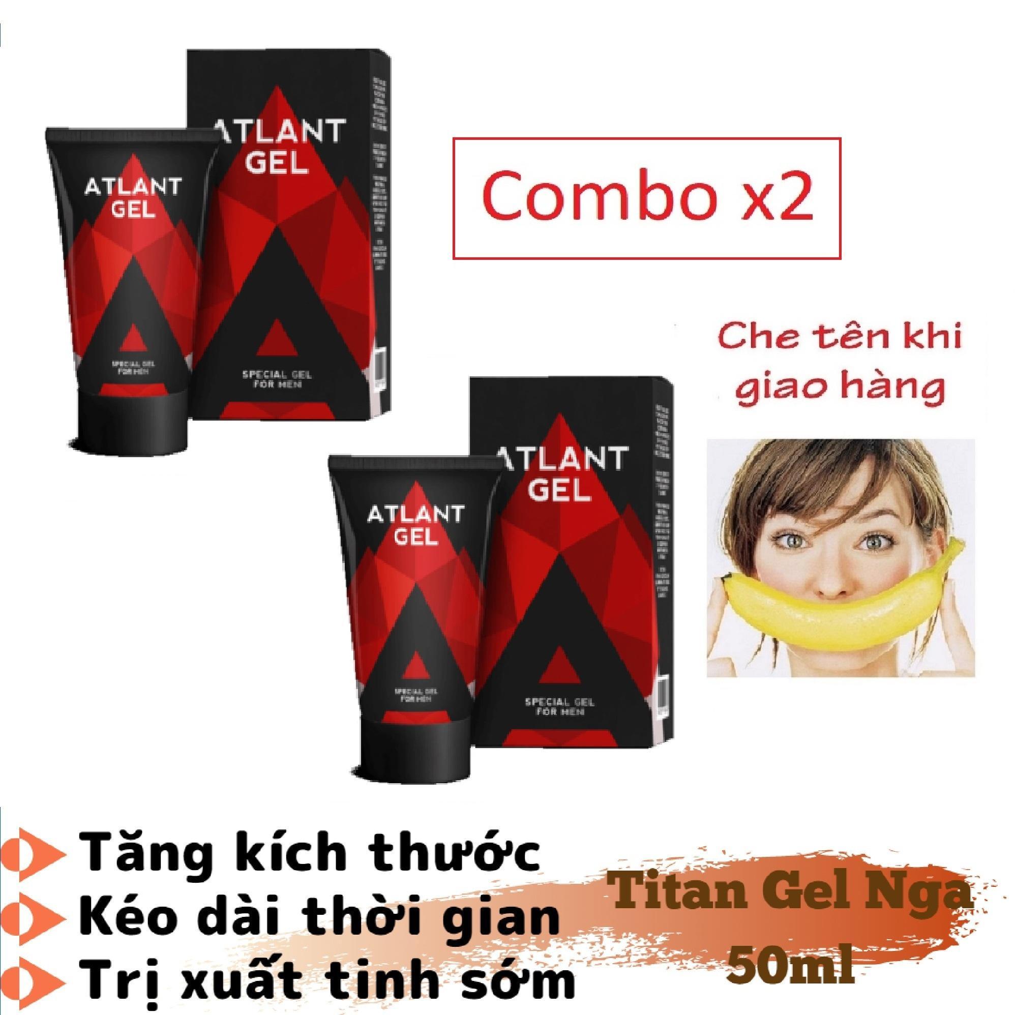 Combo x2 (Hàng chuẩn Nga)_ATLAN-Gel (Super_Titan-Gel) - tăng kích_thước, tăng cường_sinh_lý nam giới (50ML) nhập khẩu