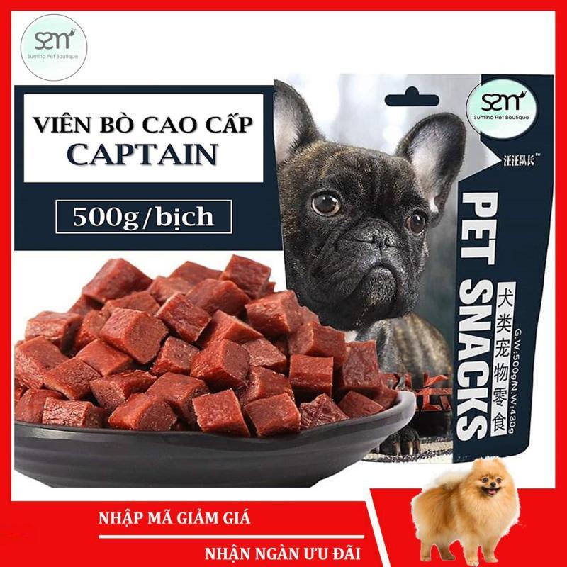 Viên bò/gà tươi sấy khô nguyên chất Captain (500gr) Bánh thưởng cho chó Sumiho