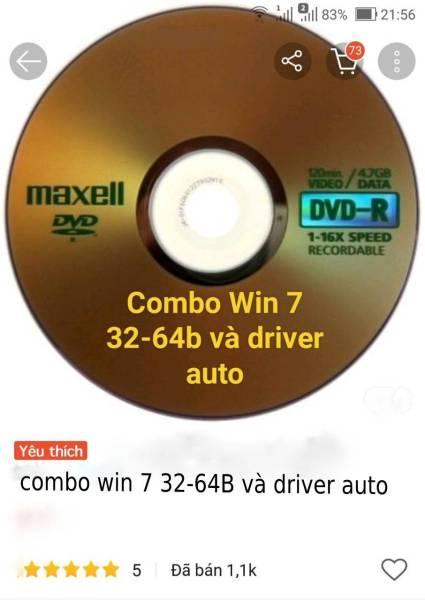 Bảng giá combo đĩa cài win 7 và đĩa driver auto win 7 32b và 64b Phong Vũ