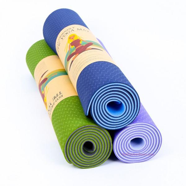 Thảm Tập Yoga Tpe Hàng Đài Loan Cao Cấp 2 Lớp Tặng Kèm Túi Chống Nước