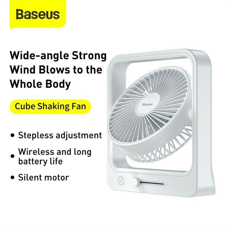 Quạt tích điện để bàn Baseus Cube Shaking Fan CXMF-02 Công suất 10W, Tự động đảo Gió, Pin 5400mAh Thời gian sử dụng 18h