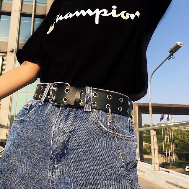 Thắt lưng nữ kèm chain - Xích 2 hàng lỗ