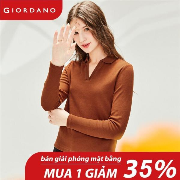 Giordano Women Polo Shirts Half Placket Design Polo Collar Tops Side Vents At Hem Long-Sleeve Comfy Tops Free Shipping 91310602