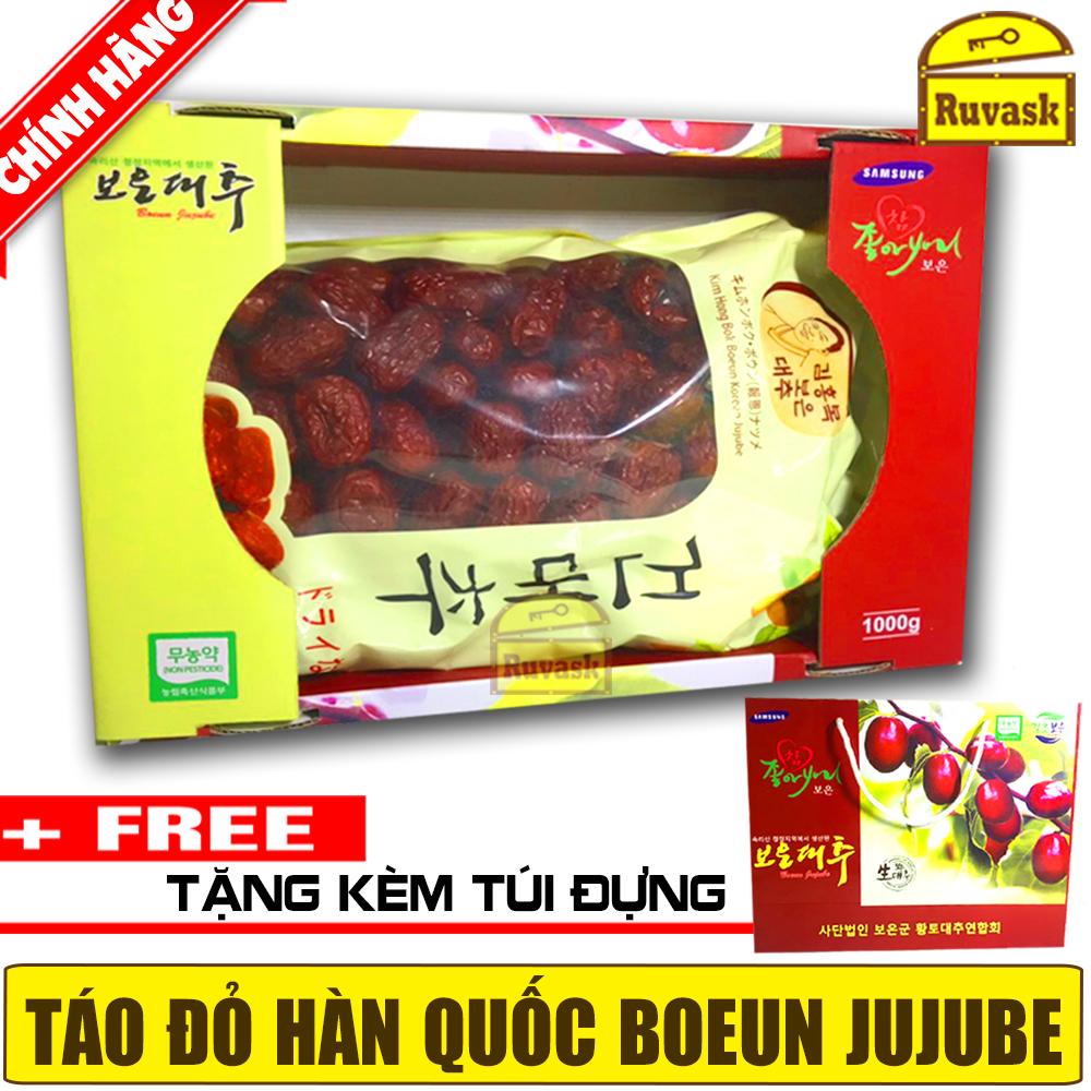 [MẪU MỚI 2020] Táo Đỏ Hàn Quốc Sấy Khô Samsung Boeun Jujube 1KG + Tặng Kèm Túi Đựng Hộp Làm Quà Biếu - Ruvask
