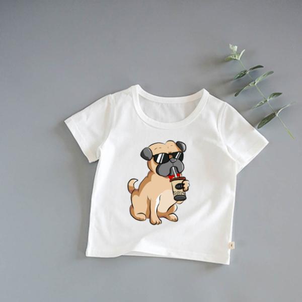 Giá bán áo thun cao cấp bé trai, gái | size 6-45 | mịn mát co dẫn 4 chiều | in hình chó pug