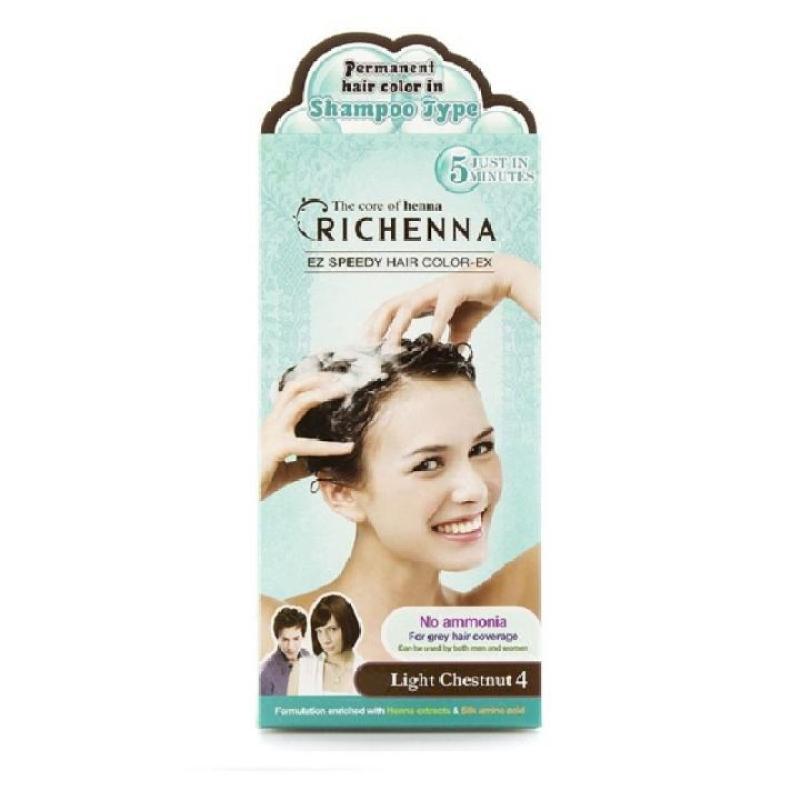 Nhuộm tóc phủ bạc dạng gội Richenna EZ speedy hair color-EX 2 tuýp (60/60g) nhập khẩu