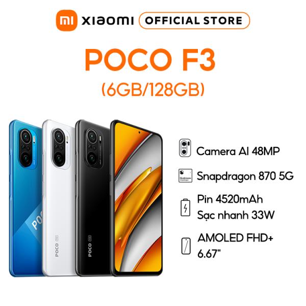 [Trả góp 0%]Điện thoại POCO F3 6GB/128GB   8/256 - Hỗ trợ 5G   Chip Snapdragon 870     Màn hình AMOLED 667 - 120Hz   Trang bị loa kép Dolby Atmos   Pin 4520 mAh - Sạc nhanh 33W  - BH Chính hãng 18 tháng