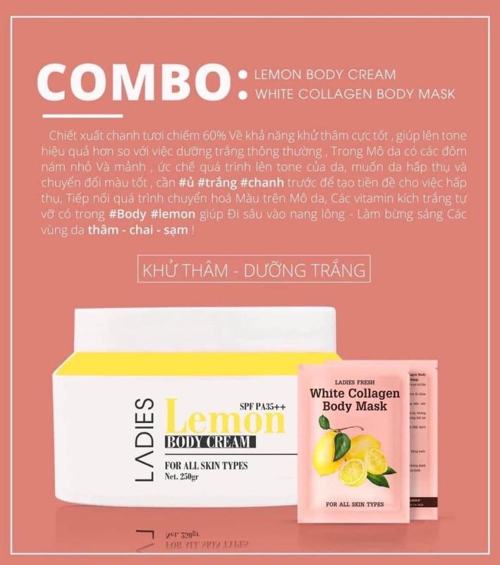 (Chính hãng 💯%-mẫu mới) combo ủ trắng chanh và body chanh lemon-1 hộp ủ trắng chanh 3 gói và 1 kem dưỡng body chanh 250ml Qlady mẫu mới