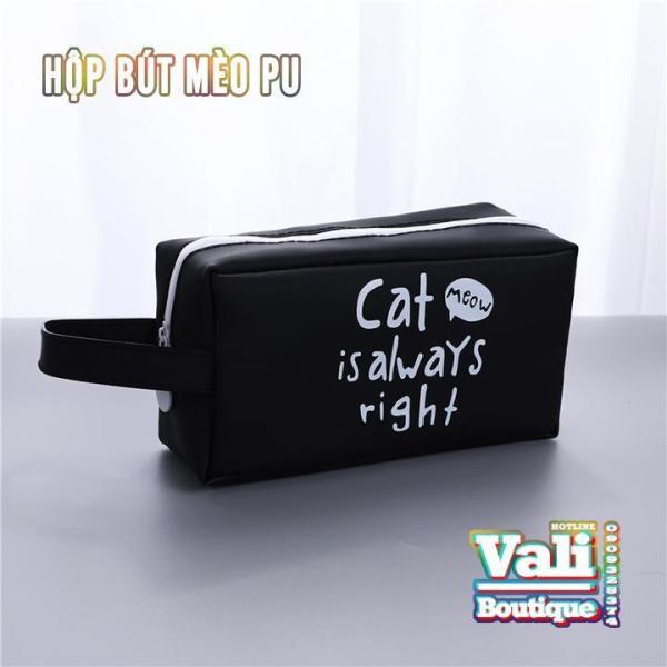 Mua Hộp bút da PU dễ thương họa tiết mèo hình vuông - nhiều màu