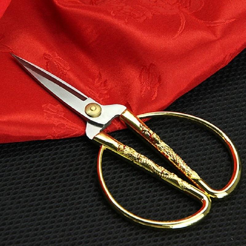 Mua Kéo cắt băng khánh thành, cán vàng hình rồng phụng, dài 19cm