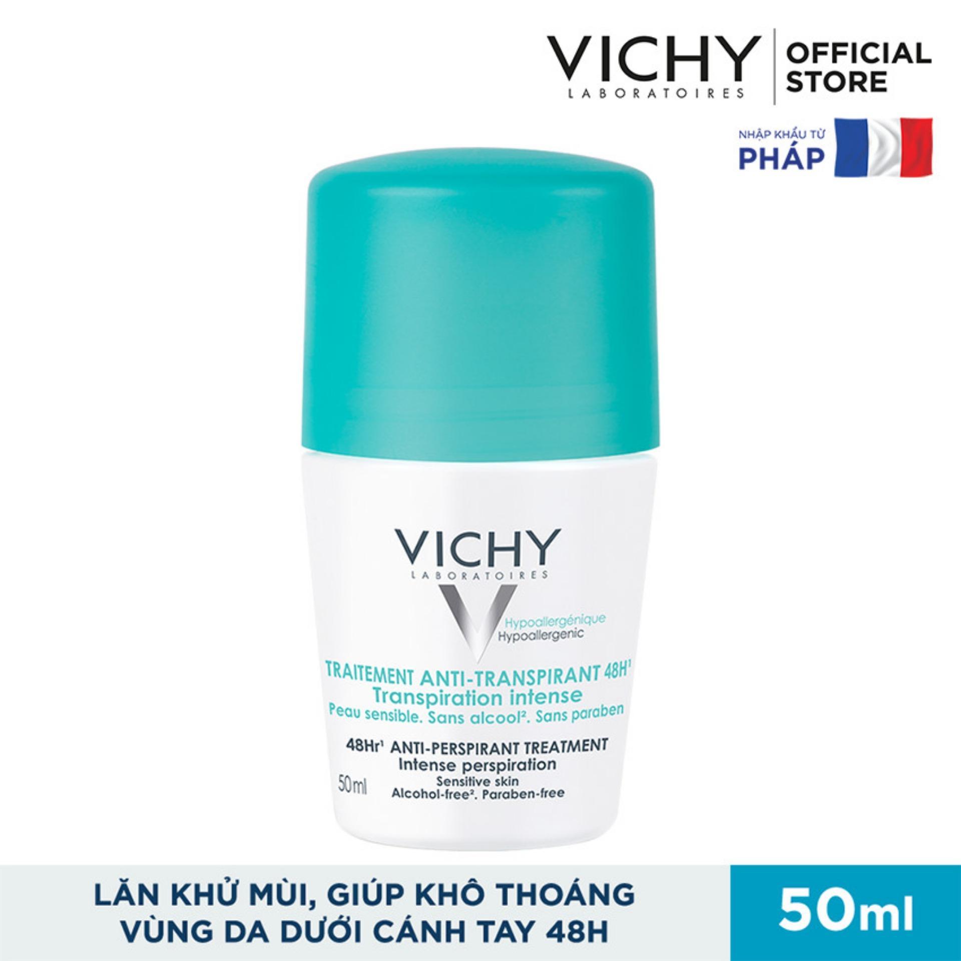 Lăn khử mùi và khô thoáng vùng da dưới cánh tay 48H  Vichy Traitement Anti- Transpirant 50ml nhập khẩu