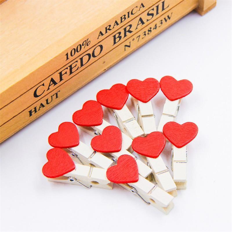 Mua Bộ 10 kẹp gỗ trắng hình trái tim đỏ trang trí, treo ảnh, giấy