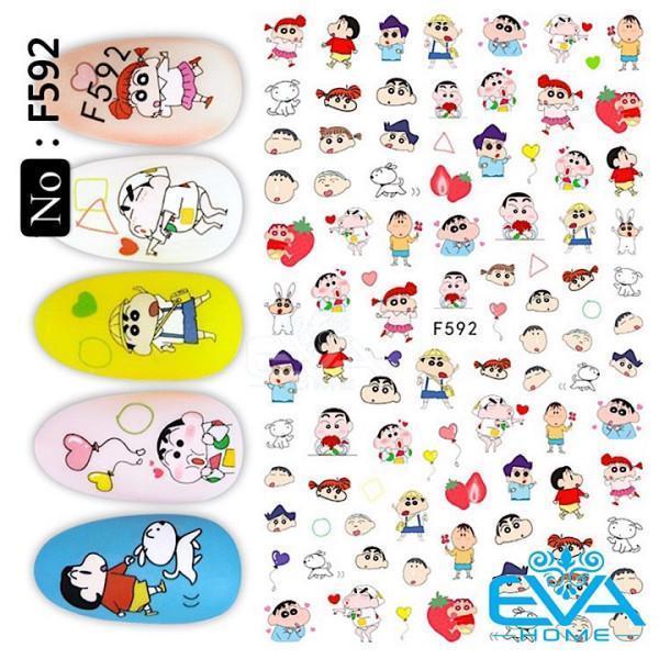 Miếng Dán Móng Tay 3D Nail Sticker Tráng Trí Hoạ Tiết Hoạt Hình Bé Sin F592 giá rẻ