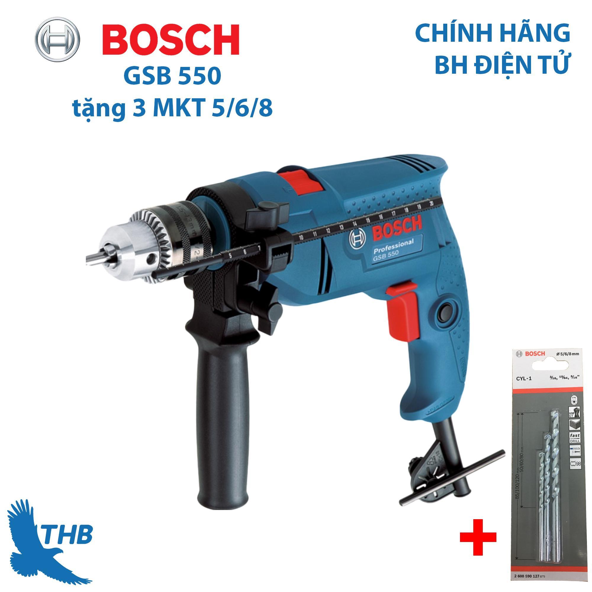 Máy khoan động lực Máy khoan gia đình Bosch GSB 550 Hộp giấy tặng 3 mũi khoan - Khoan bán chạy số 1 của Bosch