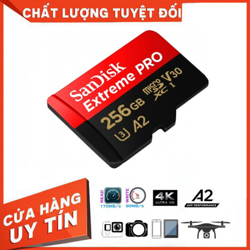 [Hãng Phân Phối Chính Thức] Thẻ Nhớ MicroSDXC SanDisk Extreme Pro V30 A2 256GB 170MB/s SDSQXCZ-256G-GN6MA - Bảo Hành 3 Năm Miên phí Đổi trả 7 Ngày