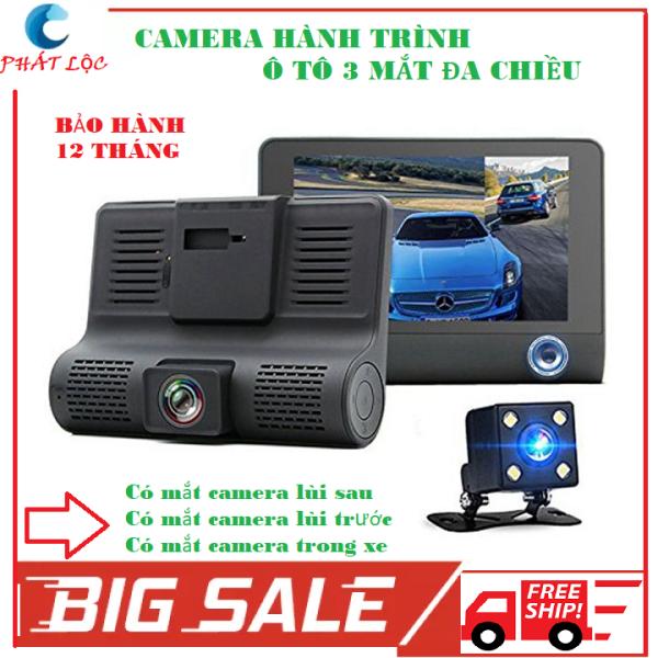 Camera hành trình ô tô 3 mắt camera, camera min màn hình 4 inh full HD 1080, camera sau chống nước,hỗ trợ thẻ 32g, ghi hình đa chiều