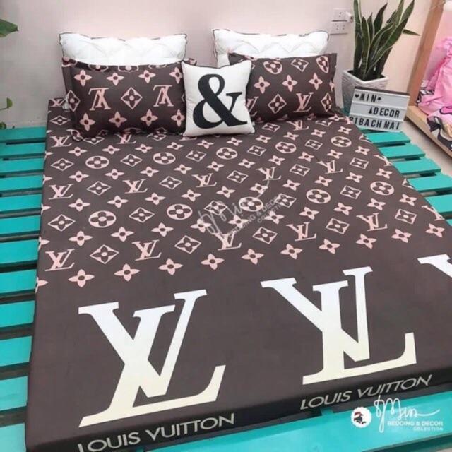 Bộ Ga Chun và 2 áo gối nằm  mẫu  Cotton Viet LV drap cotton, drap, ra giường, ga trải giường. drap giường, mềm, ra trải giường, Colada Nhật Bản