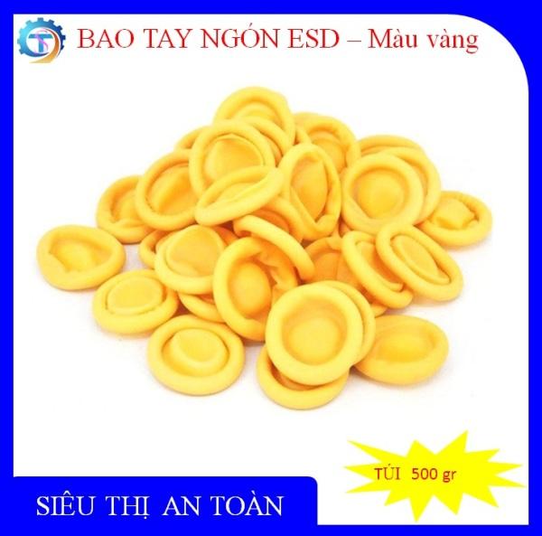 Bao tay ngón cao su có đai màu vàng, dùng trong phòng sạch tĩnh điện, dùng trong y tế, kháng khuẩn