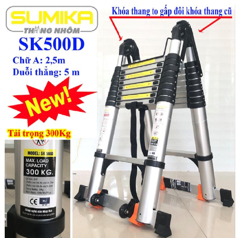 Thang nhôm rút đôi SUMIKA SK 500D New 2020 Chữ A 2m5 – duỗi thẳng 5m ( màu bạc ). An toàn – Tiện lợi – Tiết kiệm ,2x8 bậc, tải trọng 300kg,nút cao su chống trượt,khóa chống lắc,bảo hành 2 năm,đổi trả 7 ngày