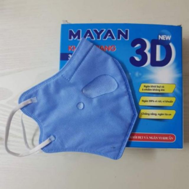 [MUA 10 TẶNG XỊT KHUẨN CLINCARE ] Khẩu trang 3D Mayan người lớn hộp 10 chiếc Mayan Dust Mask for Adults (10 masks per Box) 5 xanh 5 trắng