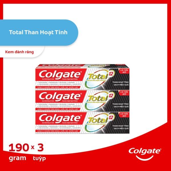 Bộ 3 Kem đánh răng Colgate giảm chảy máu nướu Total than hoạt tính bảo vệ toàn diện 190g/tuýp giá rẻ